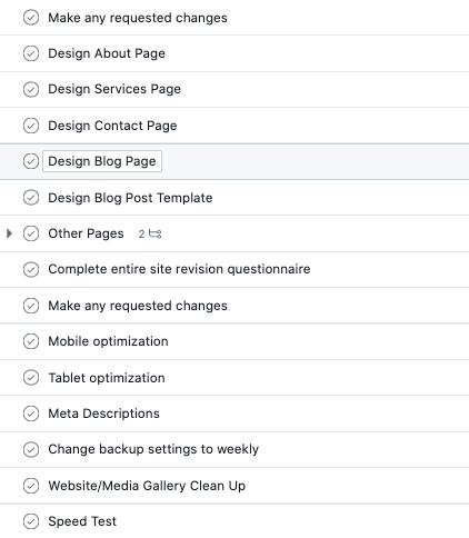 list of web design tasks in asana project management