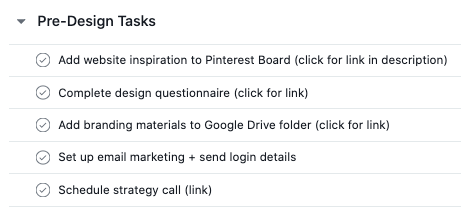list of pre-design tasks in asana project management